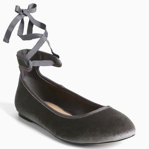 Torrid Grey Velvet Ankle Tie Ballet Flats, Size 8W